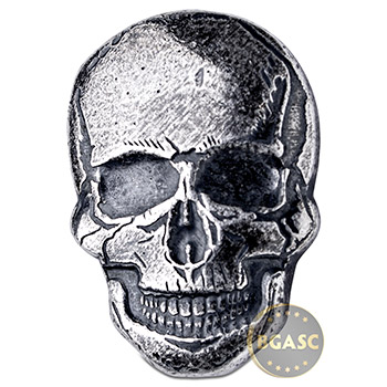 2 oz Silver Human Skull Monarch Poured .999 Fine 3D Art Bar