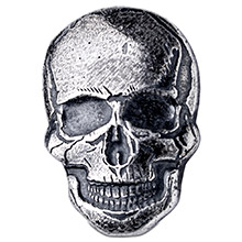 2 oz Silver Human Skull Monarch Poured .999 Fine 3D Art Bar