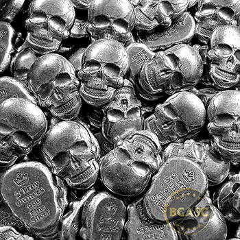 2 oz Silver Day of the Dead Sugar Skull Monarch Poured .999 Fine 3D Art Bar - Image