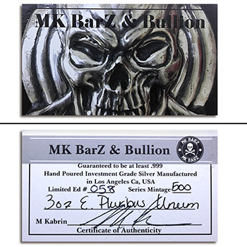 3 oz Silver Art Bar E Pluribus Unum Eagle MK BarZ .999 Fine - Image