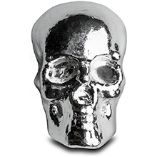 3 oz Silver Skull Monarch .999 Fine Poured Silver Bullion 3D Art Bar