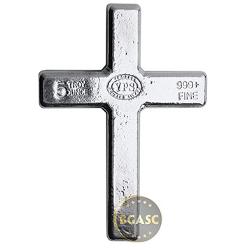 5 oz Silver Cross Yeager's Poured .999 Fine 3D Art Bar - Image