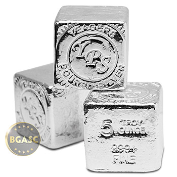 5 oz Silver Cube Yeager's Poured .999 Fine Silver Bullion - Image