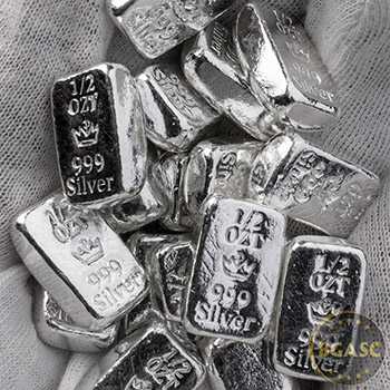 Half Ounce Silver Bars Monarch Hand Poured .999 Fine Bullion Loaf Ingot - Image