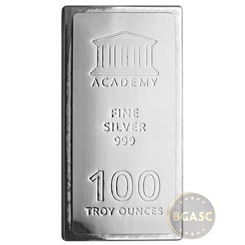 100 oz Silver Bar Academy .999 Fine Stackable Bullion Ingot