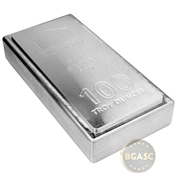 100 oz Silver Bar Academy .999 Fine Stackable Bullion Ingot - Image