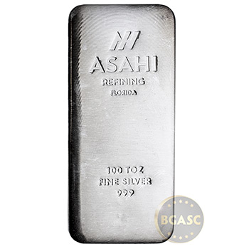 100 oz Silver Bar Asahi Florida Poured .999 Fine Bullion Ingot