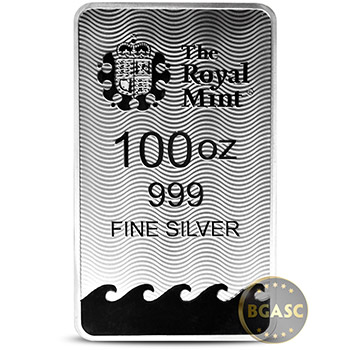 100 oz Silver Bar Royal Mint Britannia .999 Fine Bullion Ingot - Image