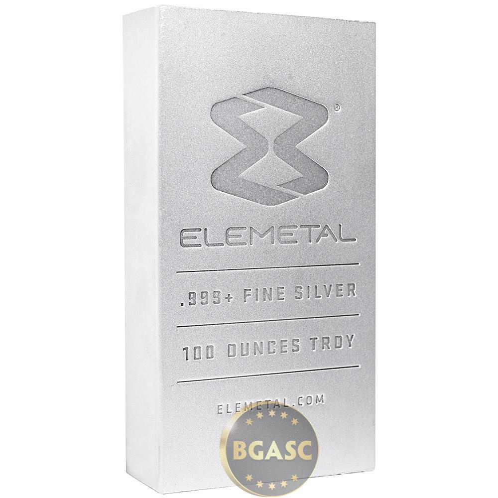 Buy 100 Oz Silver Bar Elemetal 999 Fine Bullion Ingot