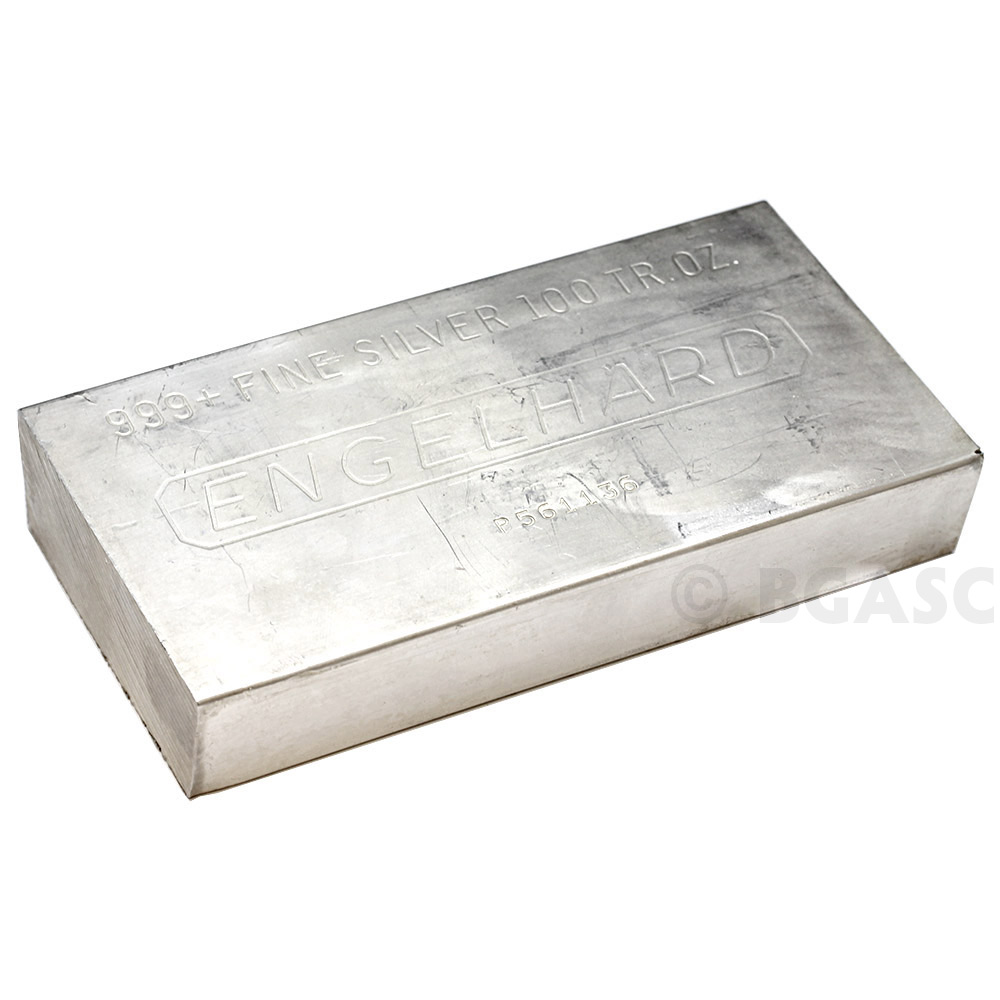 Buy 100 Oz Silver Bar Engelhard 999 Fine Various Styles