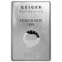 100 oz Silver Bar Geiger Security Line .999 Fine Bullion Ingot (Secondary Market)