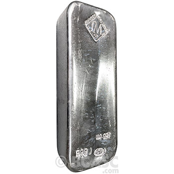 100 oz Silver Bar Johnson Matthey .999 Fine Hand Poured Bullion Ingot - Lightly Circulated - Image