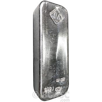 100 oz Silver Bar Johnson Matthey .999 Fine Bullion Ingot (Secondary Market)