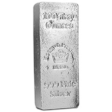 100 oz Silver Bar Monarch Hand Poured .999 Fine Bullion Loaf Ingot
