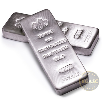 100 oz Silver Bar PAMP Suisse Cast .999 Fine Bullion Ingot with Assay - Image