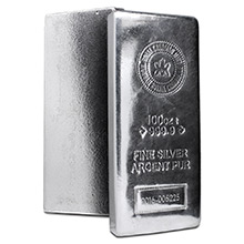 100 oz Silver Bar Royal Canadian Mint RCM .9999 Fine Bullion Ingot