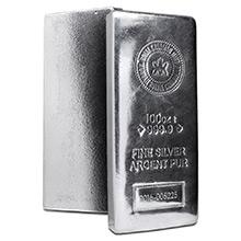 100 oz Silver Bar Royal Canadian Mint RCM .9999 Fine Bullion Ingot