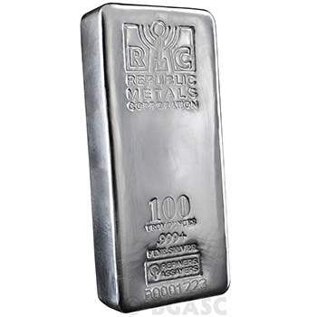 100 oz Silver Bar Republic Metals RMC .999+ Fine Cast Bullion Ingot