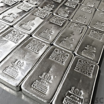 100 oz Republic Metals RMC Cast Silver Bars .999 Fine Silver Bullion Ingot - Image