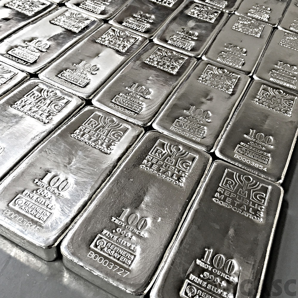 Buy 100 Oz Silver Bar Republic Metals Rmc 999 Fine Cast