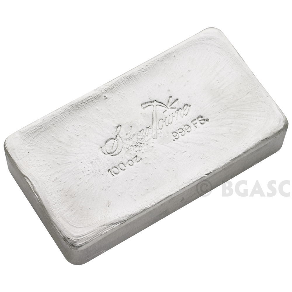 Buy 100 Oz Silver Bar Silvertowne Hand Poured 999 Fine