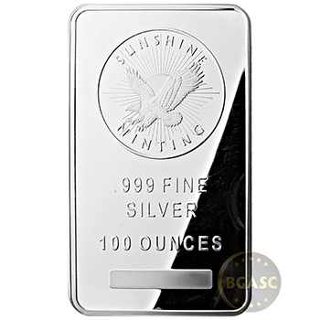 Sunshine Mint 100 oz Silver Bar Bullion Sealed .999 Fine Silver Ingot - Image