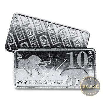 10 gram Silver Bars Monarch Bull / Bear Market (0.32 troy oz) .999 Fine Fractional Bullion Ingot