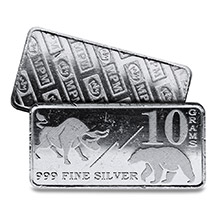10 gram Silver Bars Monarch Bull / Bear Market (0.32 troy oz) .999 Fine Fractional Bullion Ingot