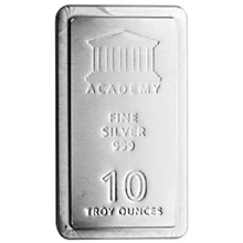 10 oz Silver Bar Academy .999 Fine Stackable Bullion Ingot
