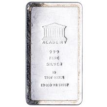 10 oz Silver Bar Academy .999 Fine Stackable Bullion Ingot (Secondary Market)