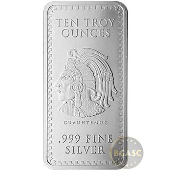 10 oz Silver Bar Aztec Calendar .999 Fine Bullion Ingot - Image