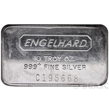 10 oz Engelhard Silver Bars .999+ Fine (Wide / Struck)