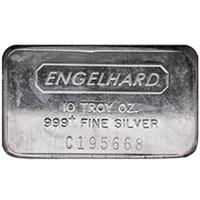 10 oz Engelhard Silver Bars .999+ Fine (Wide / Struck)