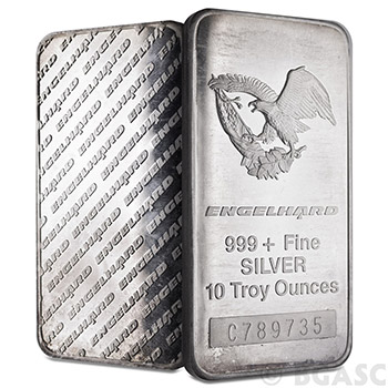 10 oz Engelhard Silver Bars .999+ Fine (Tall / Eagle)
