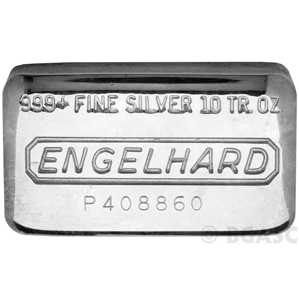 10 Oz Engelhard Silver Bars 999 Fine Pressed Loaf Image