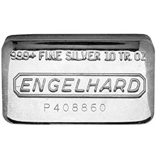10 oz Engelhard Silver Bars .999+ Fine (Wide / Pressed)