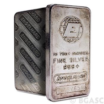 10 oz Engelhard Silver Bars .999+ Fine (Tall / E Logo)