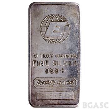 10 oz Engelhard Silver Bars .999+ Fine Vertical / Struck - Image