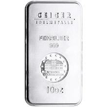 10 oz Silver Bars Geiger Security Line .999 Fine Bullion Ingot (Secondary Market)