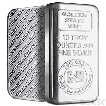 10 oz GSM Silver Bars Golden State Mint - Image