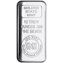 10 oz Silver Bars GSM Golden State Mint .999 Fine Bullion Ingot