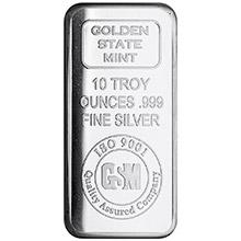 10 oz Silver Bars GSM Golden State Mint .999 Fine Bullion Ingot