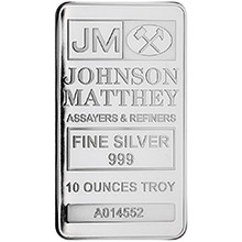 10 oz Silver Bars Johnson Matthey .999 Fine Bullion Ingot (Secondary Market)