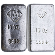 10 oz Silver Bars Johnson Matthey .999 Fine Hand-Poured Bullion Loaf Ingot (Secondary Market)