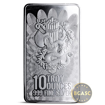 10 oz Silver Bar Liberty & Unity .999 Fine Bullion Ingot - Image