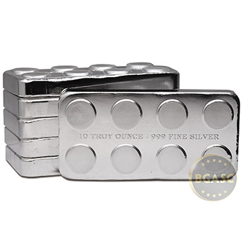 10 oz Silver Bars Monarch Stackable Building Block .999 Fine Bullion Ingot - Image