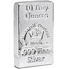 10 oz Silver Bars Monarch Hand Poured .999 Fine Bullion Loaf Ingot