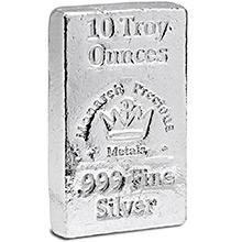 10 oz Silver Bars Monarch Hand Poured .999 Fine Bullion Loaf Ingot
