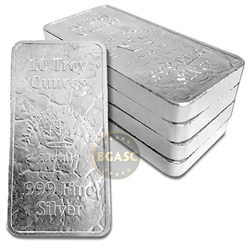 10 oz Silver Bars Monarch Stone Struck .999 Fine Bullion Ingot - Image