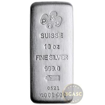 10 oz Silver Bar PAMP Suisse Cast .999 Fine Bullion Ingot w/ Assay